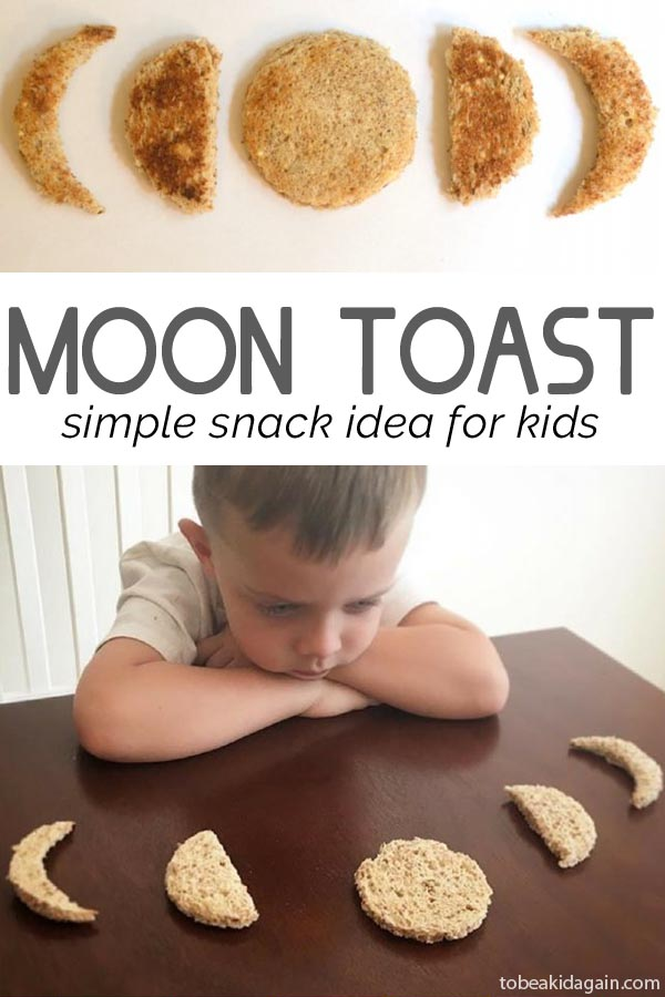 moon toast to learn phases of the moon and make a simple snack kids can help make for preschool and kindergarten.