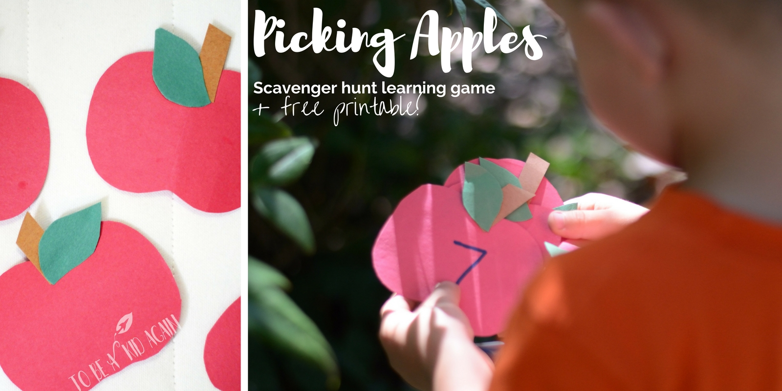 picking apples scavenger hunt learning game