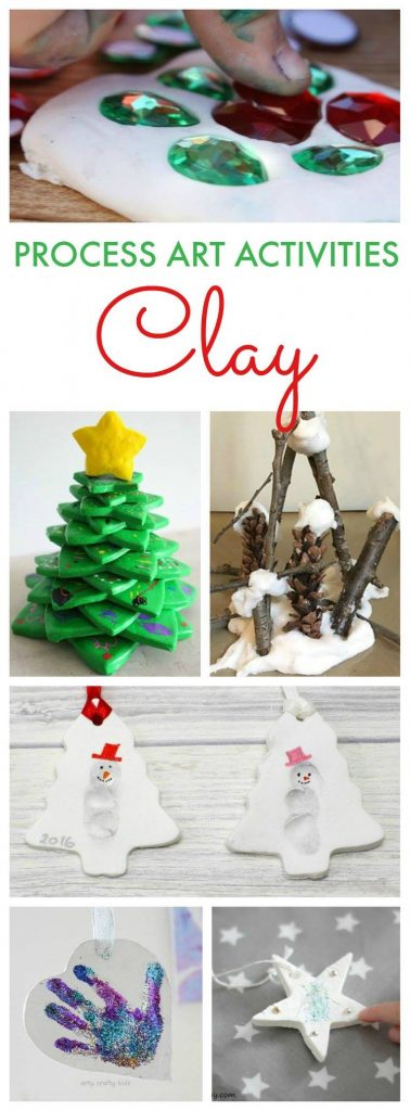 Clay Process Art Activities for kids. Winter, Christmas, Snowmen, and stars to make for an art project.
