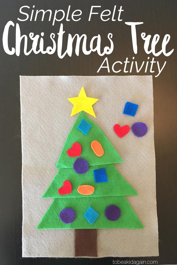 Make a simple Christmas Tree Shape Activity from felt to learn shapes and colors with preschoolers! This is a fun, hands-on project that's portable for a quiet activity or for travel.