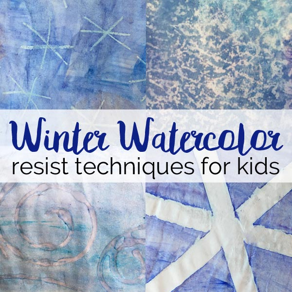 Simple water color resist techniques for kids.