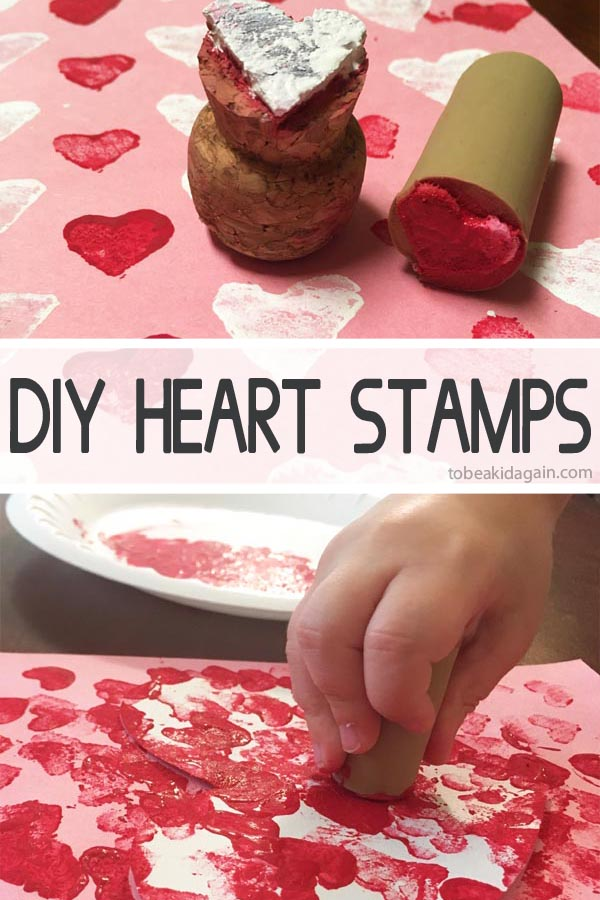 DIY Heart Stamps made from corks. An adult makes the stamp, so the kids can create this fun process art activity and make a valentines day card craft.
