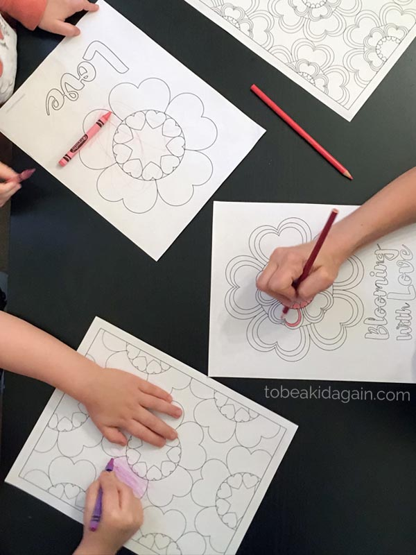 Mommy and Me Coloring Pages: Heart Flowers for Valentines ...