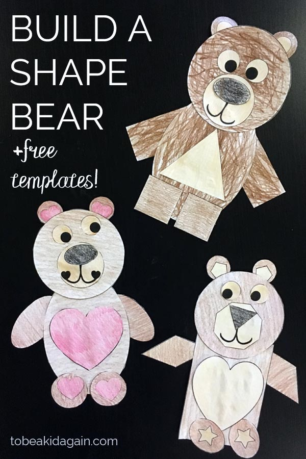 shape activity - build a shape bear - toddler shapes - preschool math - simple crafts for kids - cut and paste craft - 2D shapes