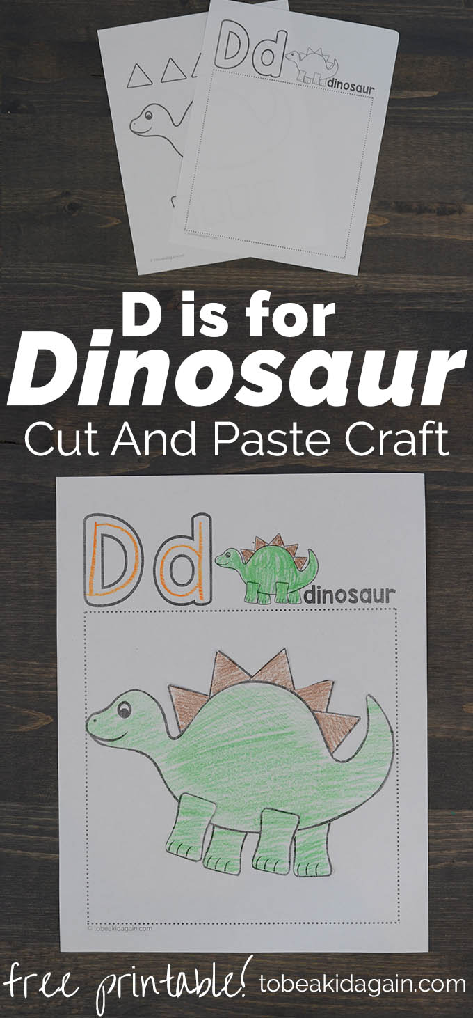 image about Printable D&d Miniatures called D is for Dinosaur Alphabet Slice and Paste Craft - Artistic