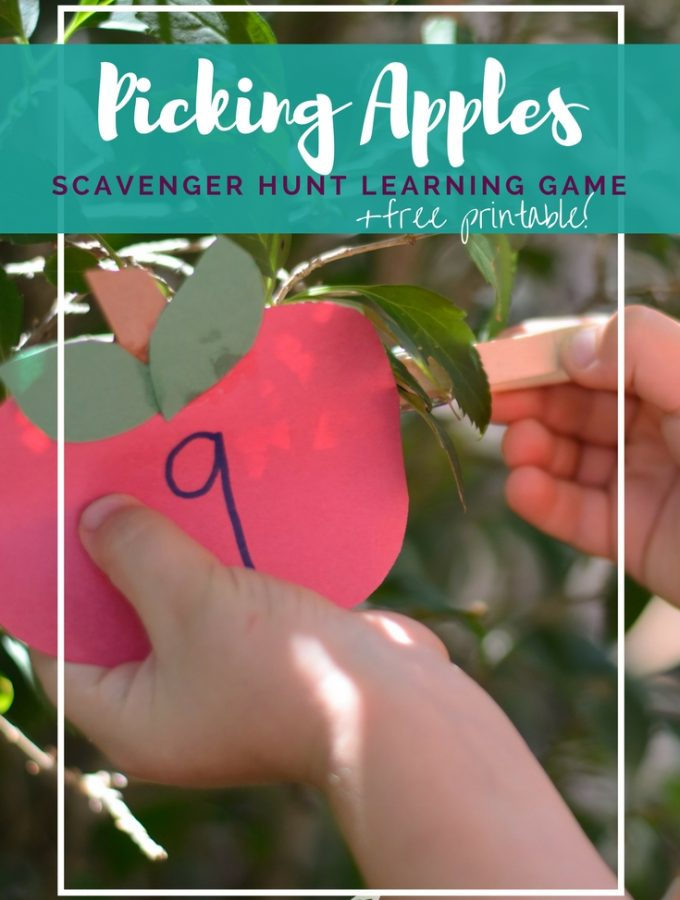 Picking Apples Game: Learn with a Scavenger Hunt + Free Printable!
