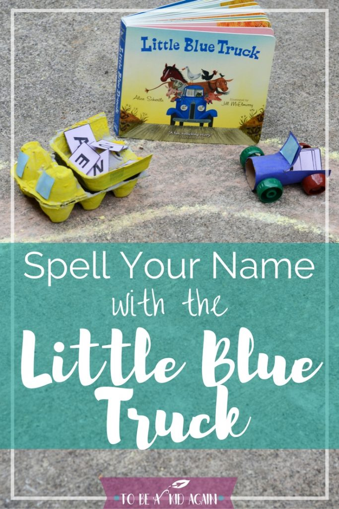 Little Blue Truck Book Activity for toddlers and preschoolers. Learn to spell your name with the Little Blur Truck and Dump, Fun and hands on way to learn letters of the alphabet.