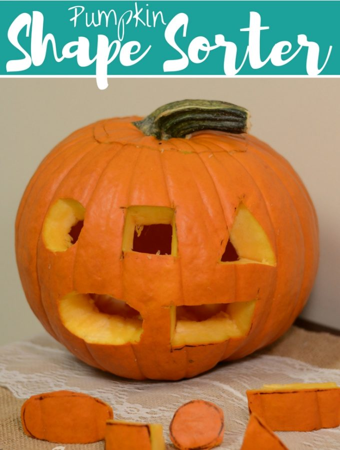 Pumpkin shape sorter and jack-o-lantern