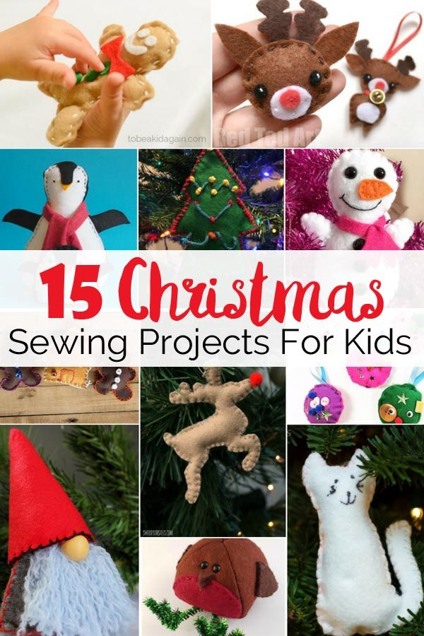 Christmas sewing projects for kids or beginners including free patterns