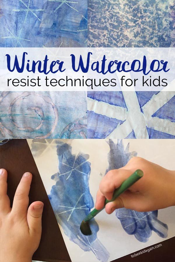Winter Watercolor Resist Techniques for Kids