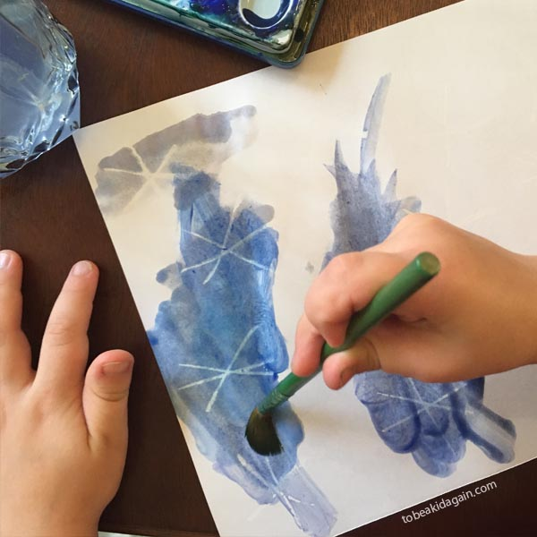 Simple water color resist techniques for kids.