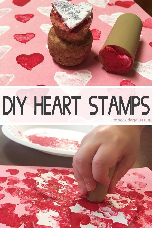 DIY Heart Stamps made from corks. Make a valentines day card!