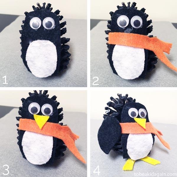 Pinecone penguin Craft for kids. Book inspired nature craft for preschool and kindergarten. Book Activity