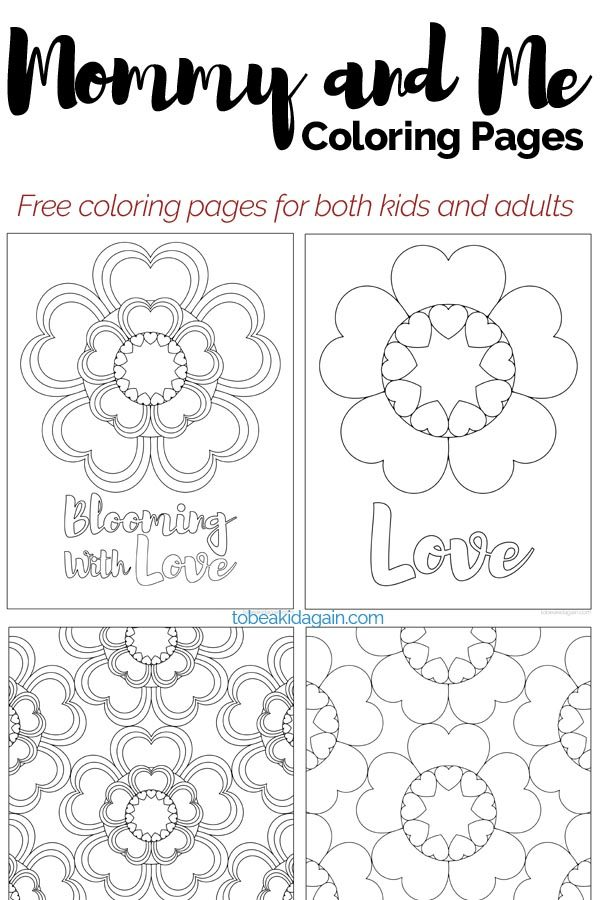 mommy and be child adult coloring pages hearts and flowers for valentines