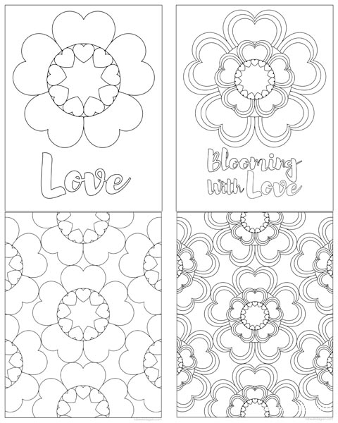 Get All 4 Coloring Pages Here Mommy And Me Adult Child Heart Flowers For Valentines Day
