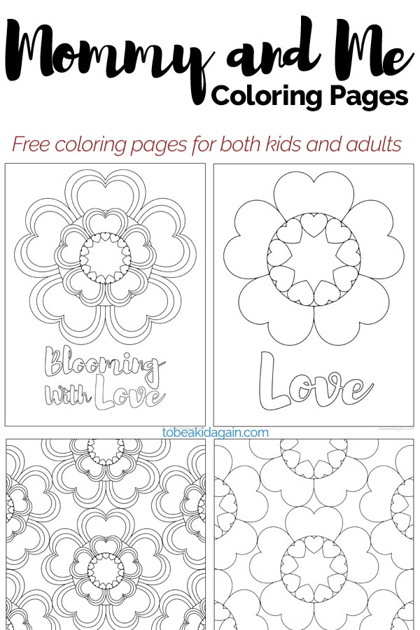 Mommy and Me Coloring Pages: Heart Flowers for Valentines Day and ...