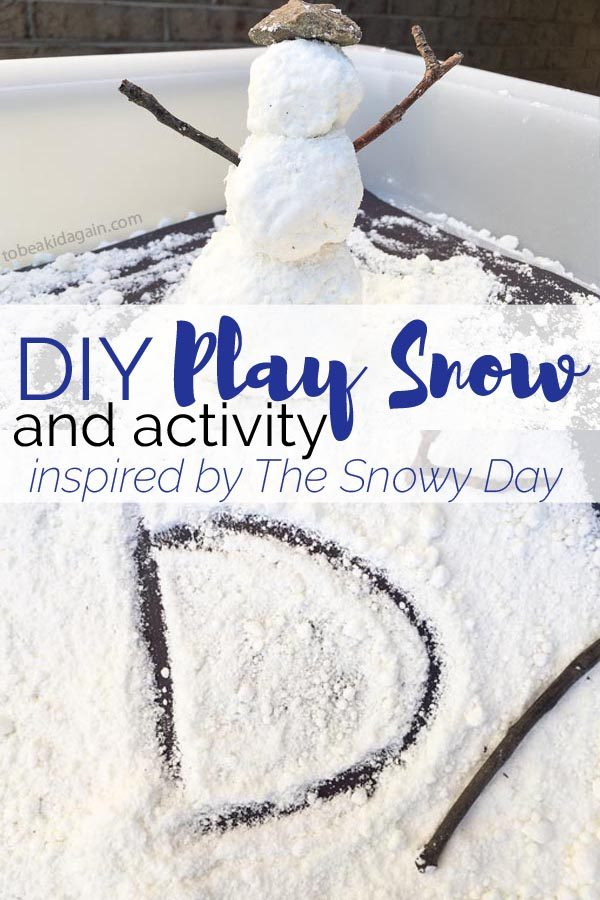 Make DIY play snow (snow dough) for sun sensory play to go along with the book The Snowy Day by Ezra Jack Keats. Do a story walk, practice letters, and make a snowman to go along with the story.