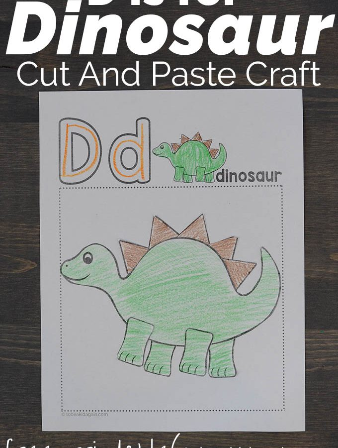 D is for Dinosaur Alphabet Cut and Paste Craft