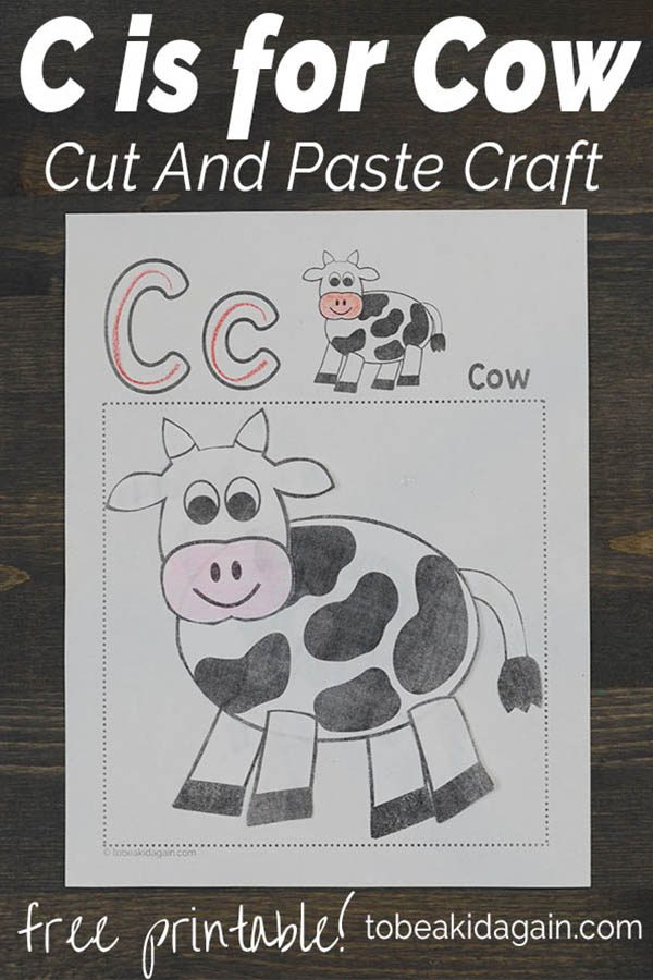 C is for Cow Alphabet Cut and Paste Craft
