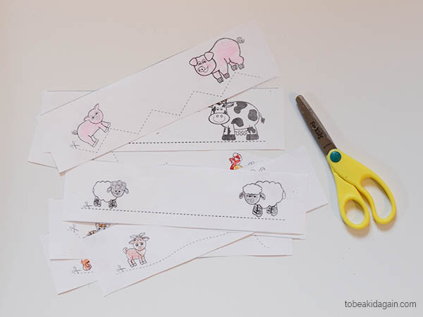 baby and mommy farm animals cutting practice free printable