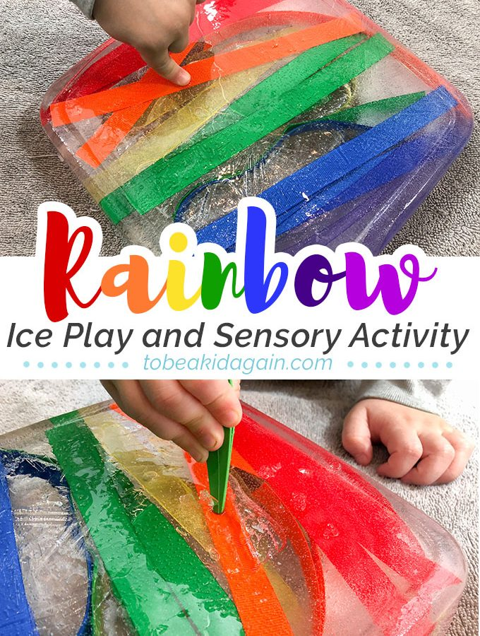 Rainbow Sensory Ice Excavation Activity