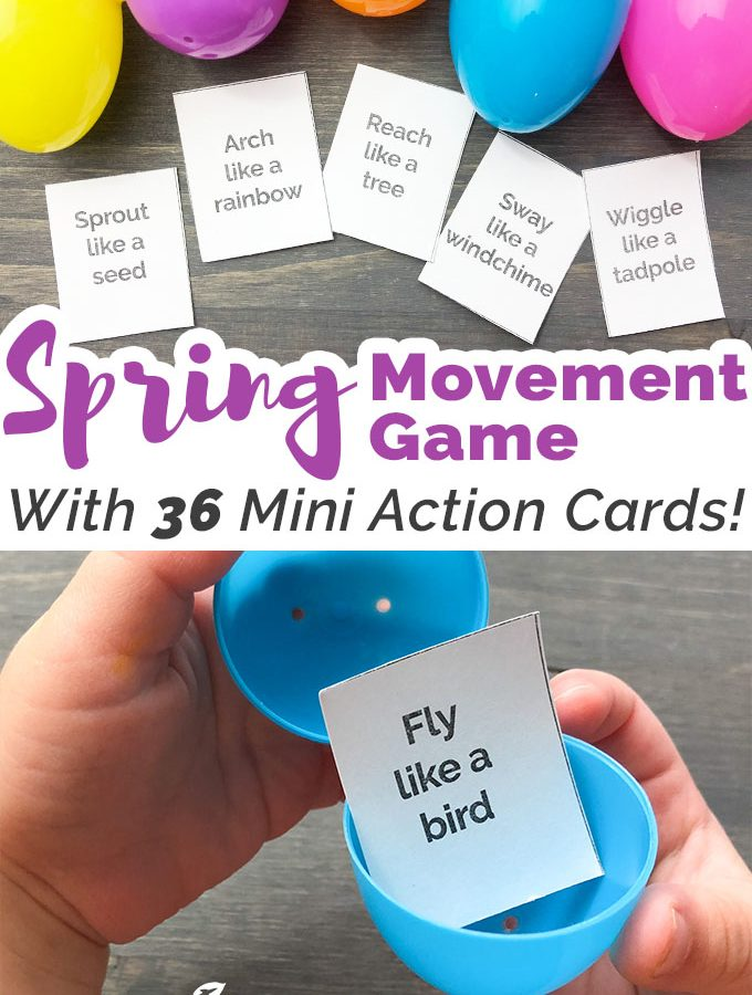 Spring Movement Game Using Plastic Eggs + Free Printable Action Cards