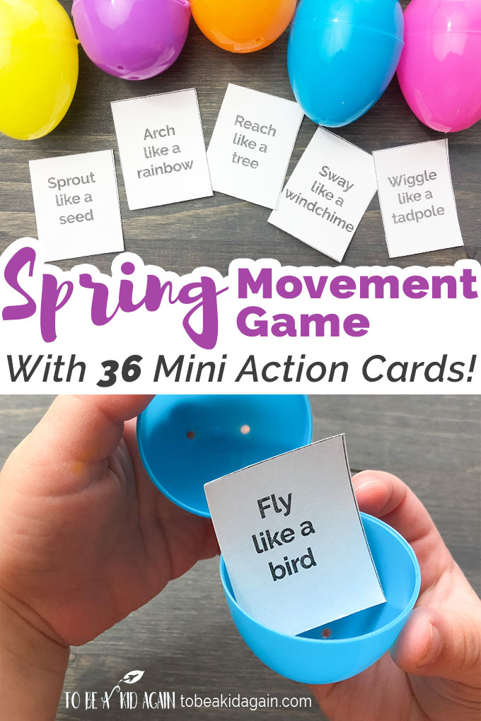 Spring Movement Game Using Plastic Eggs + Free Printable